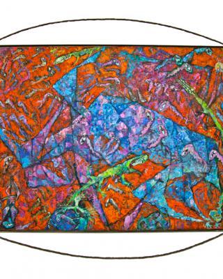 Irana the Yoruba Bardo, 1991, Öl auf Sperrholz, 91 x 122 cm