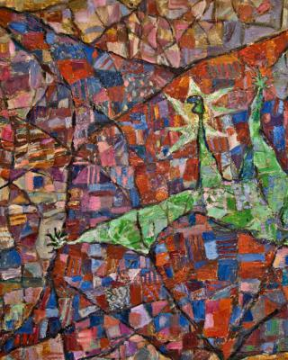 Josephslegende, 1980-1983, Öl auf Sperrholz, 80 x 122 cm