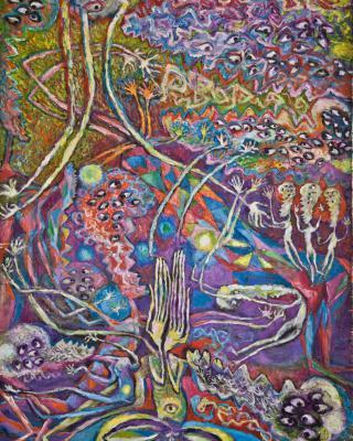 Buddha im Schatten des Boddhibaumes, 1997, Öl auf Sperrholz, 122 x 90 cm