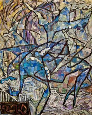 Obatala und Shango, 1983- 1984, Öl auf Sperrholz, 122 x 92 cm