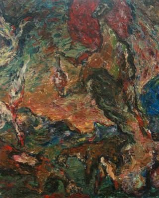 Holztafelbilder: Die große Weberin ihre Geierin..., 1951 - 1955, Öl auf Sperrholz, 32,5 x 45,5 cm
