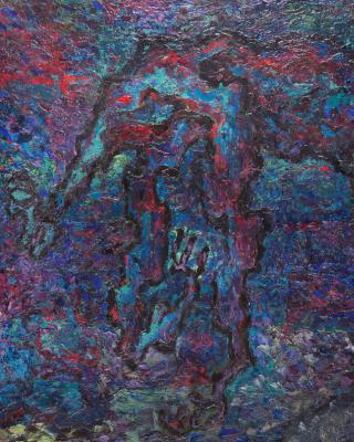 Der blinde Priester liest meines Geistes Fingerspitzen, 1952, Öl auf Leinwand, 119 x 90 cm