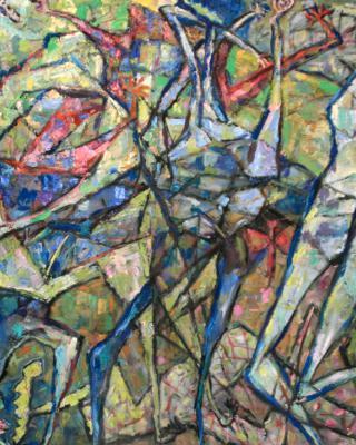 Obatala und Shango, 1983, Öl auf Sperrholz, 92 x 122 cm