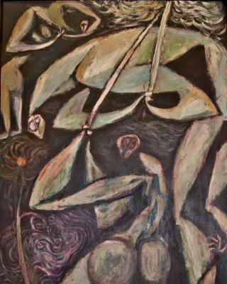 Odudua and Ela, 1979 - 1982, Öl auf Sperrholz, 122 x 61 cm