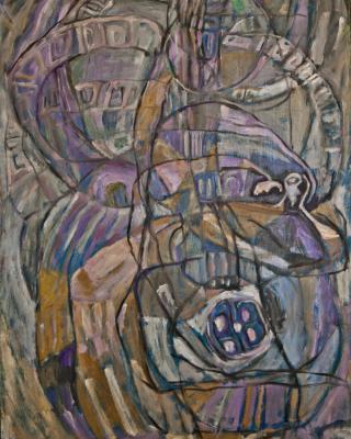Obatala und Odudua Schöpfung, 1982, Öl auf Sperrholz, 92 x 62 cm