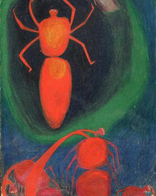 Traumgesichte: Rote Spinnen, 1943 - 1944, Buntstiftzeichnung, 30,5 x 21.5 cm