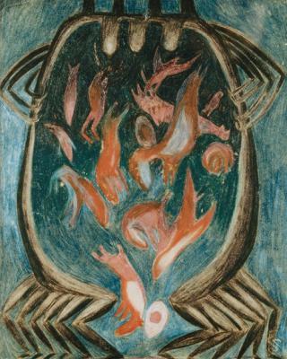 Traumgesichte: Vier Gebärende, 1943 - 1944, Buntstiftzeichnung, 30 x 21,5 cm