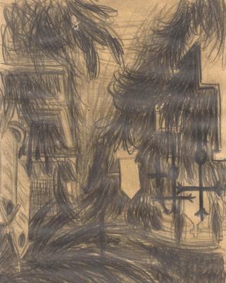 Österreich vor 1945 – St. Peter Friedhof Graz, 1939 – 1942, Bleistiftzeichnung, 20,7 x 14,5 cm