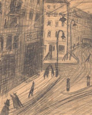 Österreich vor 1945 – Stadtszene Graz, 1937 – 1939, Bleistiftzeichnung, 14 x 21 cm