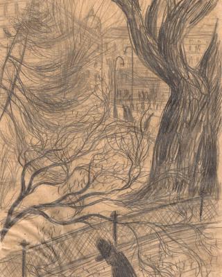 Österreich vor 1945 – Stadtszene mit Baum Graz, 1937, Bleistiftzeichnung, 21 x 15 cm