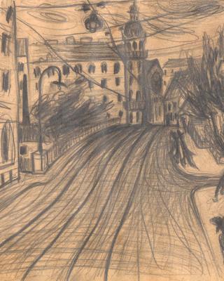 Österreich vor 1945 – Stadtszene mit Straßenbahnschienen Graz, 1938 – 1939, Bleistiftzeichnung, 15 x 21 cm