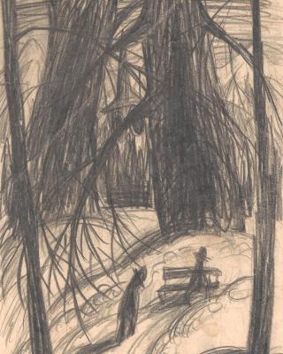 Wald bei Davos, 1937 – 1938, Bleistiftzeichnung, 21 x 14,5 cm