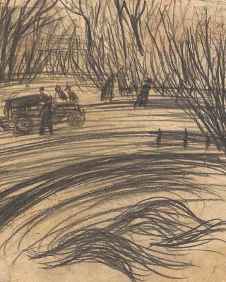 Österreich vor 1945 – Wien alter Ressl Park, 1938 – 1939, Bleistiftzeichnung, 11,5 x 13,5 cm