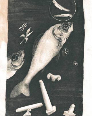 Tierkreis: Im Zeichen der Fische, 1943 – 1945, Bleistiftzeichnung, 25 x 18 cm
