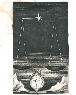 Tierkreis: Im Zeichen der Waage, 1943 – 1945, Bleistiftzeichnung, 20 x 12,5 cm