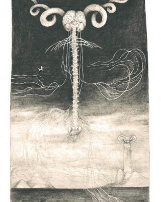 Tierkreis: Im Zeichen des Widder, 1943 – 1945, Bleistiftzeichnung, 18 x 11,5 cm